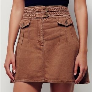 Free People Braided Baby Mini Skirt Brown Denim 10